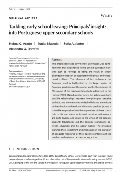 Tackling early school leaving: Principals' insights into Portuguese upper secondary schools